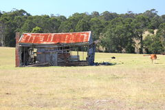 Vieille maison décomposée de rouillement de ferme Images stock