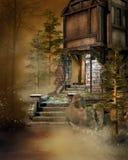 Vieille maison dans la forêt illustration de vecteur