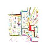 Vieille maison de rapport, croquis pour votre conception illustration stock
