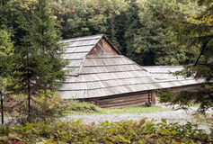 Vieille maison en bois avec le toit en bois dans la forêt, fond Photos libres de droits