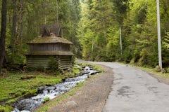Vieille maison en bois dans la forêt Images libres de droits