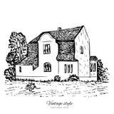 Vieille maison européenne, manoir de tuile de croquis de vecteur de vintage, ligne peu précise de bâtiment historique illustration stock