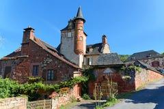 Vieille maison française traditionnelle dans le fard à joues de La de Collonges Photos stock