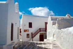 Vieille maison grecque traditionnelle sur l'île de mykonos images stock