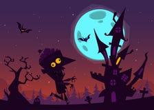 Vieille maison hantée fantasmagorique avec des fantômes Fond de bande dessinée de Halloween Illustration de vecteur Photo stock