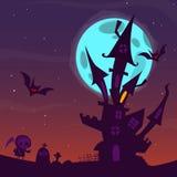 Vieille maison hantée fantasmagorique avec des fantômes Fond de bande dessinée de Halloween Illustration de vecteur Image stock