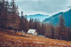Vieille maison rurale dans les montagnes carpathiennes Photo libre de droits