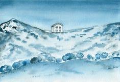 Vieille maison sur les montagnes Horizontal d'aquarelle photos stock