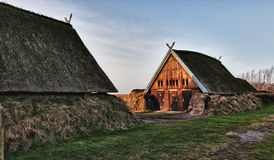 Vieille maison traditionnelle d'âge de Viking Photographie stock