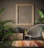 Vieille maquette de cadre en bois dans l'intérieur ethnique illustration stock