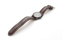 Vieille montre-bracelet avec le bracelet en cuir Images libres de droits