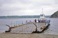 Vieille péniche près dans Kamianets-Podilskiy Photo libre de droits