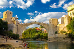 Vieille passerelle de Mostar Photos stock