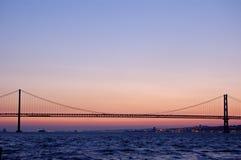 Vieille passerelle de suspension, Lisbonne Image libre de droits