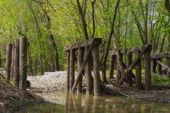 Vieille passerelle en bois dans les bois Photographie stock