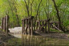 Vieille passerelle en bois dans les bois Photographie stock libre de droits