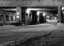 Vieille passerelle la nuit (Montréal) images stock
