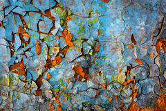 Vieille peinture criquée sur le mur Image libre de droits