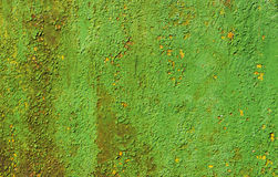 Vieille peinture verte et jaune de mur Photo stock