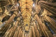 Vieille photo avec l'intérieur à la cathédrale de Milan Photographie stock libre de droits