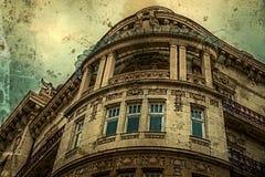 Vieille photo avec la façade sur le bâtiment classique Belgrade, Serbie 5 Images stock