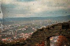 Vieille photo avec la vue aérienne de la ville Deva, Roumanie 3 Photographie stock libre de droits