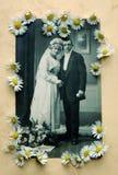 Vieille photo de mariage avec des marguerites Photo stock