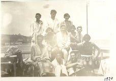 Vieille photo roumaine 1927 de la Mer Noire de bord de la mer de vintage Photographie stock