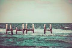 Vieille photographie de dock et de mer Photographie stock libre de droits