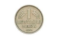 Vieille pièce de monnaie 1950 un Deutsche Mark Photographie stock libre de droits