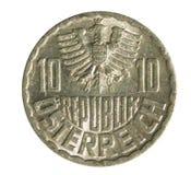 Vieille pièce de monnaie autrichienne de 10 Groschen d'isolement sur le blanc Inverse images libres de droits