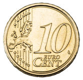 Vieille pièce de monnaie d'euro de dix cents Photographie stock