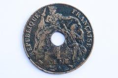 Vieille pièce de monnaie de l'Indochine Image stock