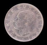Vieille pièce de monnaie de Lire turque dépeignant le premier président ou Turquie Photographie stock
