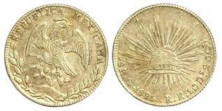 Vieille pièce de monnaie de Mexicain 8 Reales 1885 Image libre de droits