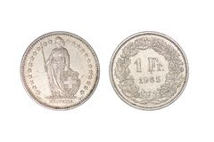 Vieille pièce de monnaie en métal de Frances, 1 franc, année 1985 photographie stock libre de droits