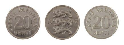 Vieille pièce de monnaie estonienne d'isolement sur le blanc Image stock
