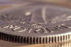 1 vieille pièce de monnaie de forint dans le macro photos libres de droits