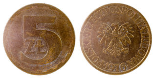 Vieille pièce de monnaie polonaise Photos libres de droits