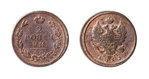 Vieille pièce de monnaie russe de cuivre. 2 kopeck, 1813 Photographie stock libre de droits
