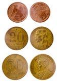 Vieille pièce de monnaie trois brésilienne différente Images stock