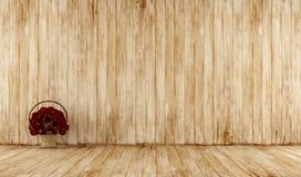 Vieille pièce en bois avec le panier en osier Photo stock