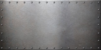 Vieille plaque de métal en acier avec des rivets Photos libres de droits