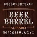 Vieille police de vecteur décorative d'alphabet Dactylographiez les lettres sur le fond en bois foncé Image libre de droits