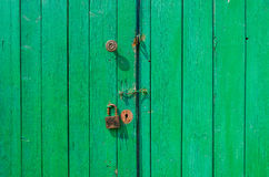 Vieille porte en bois verte Photos libres de droits