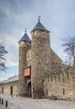 Vieille porte Helpoort de ville au centre de Maastricht Photos libres de droits
