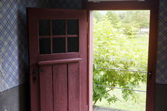 Vieille porte rouge ouverte avec les buissons verts dehors Photo stock