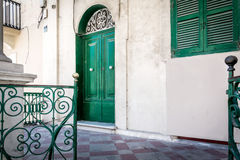Vieille porte verte à Malte Photo stock