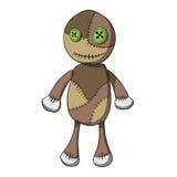 Vieille poupée de chiffon de bande dessinée avec des boutons. Vecteur Image stock
