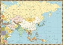 Vieille rétro carte de l'Asie illustration stock
